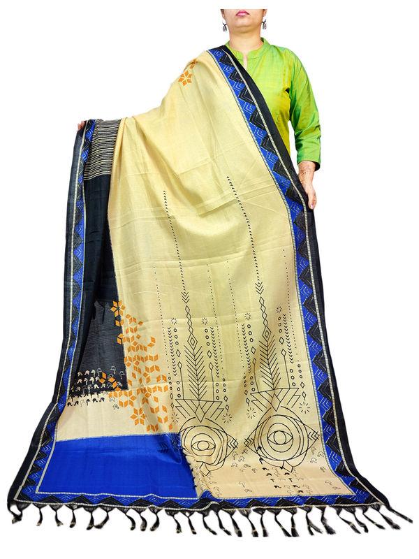 Bhagalpuri Silk Tribal Print Blue Black Formal Dupatta