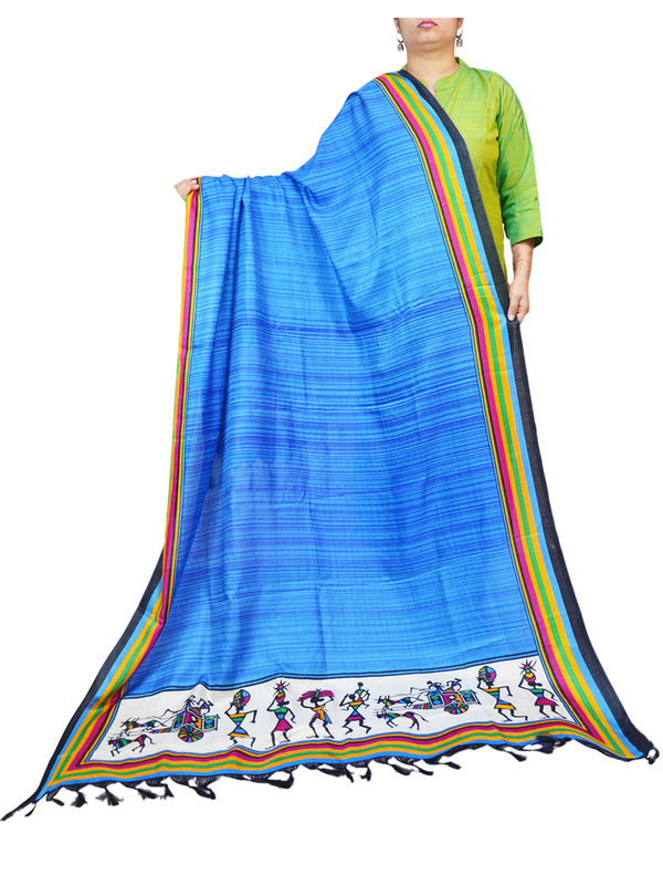 Bhagalpuri Silk Tribal Blue Print Formal Dupatta