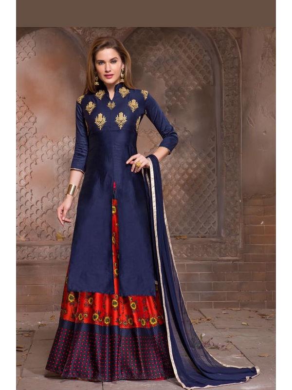 Semi-Stitched Blue Color Jam Silk Dress