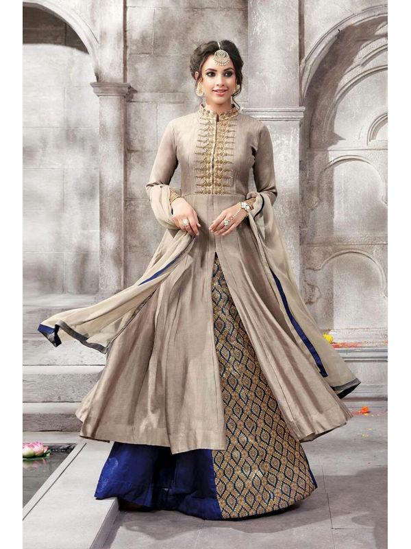 Semi Stitched Golden Color Embroidered Glace Cotton Bangalori Silk Suit