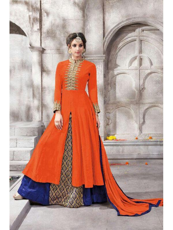 Semi Stitched Orange Color Embroidered Glace Cotton Bangalori Silk Suit