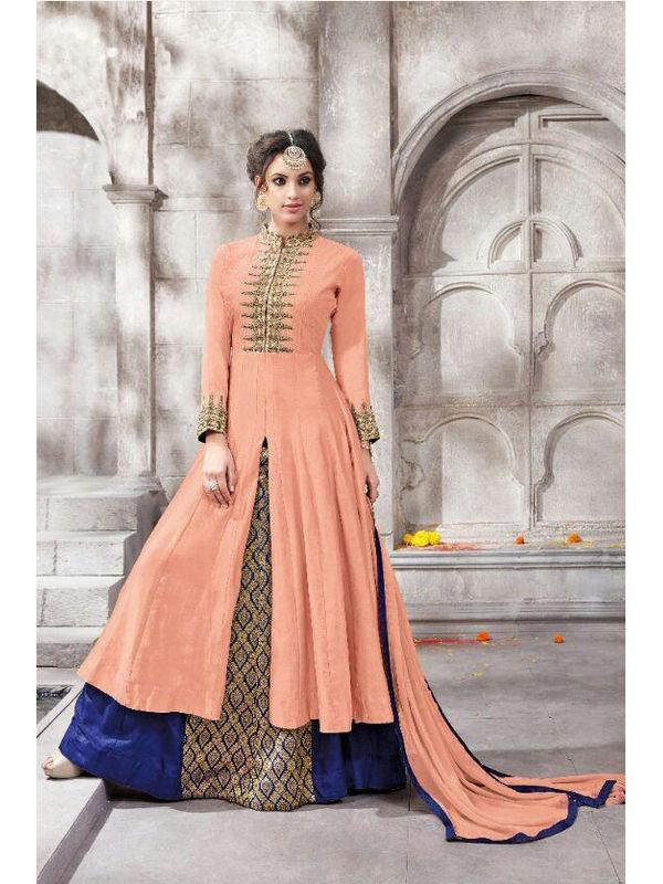 Semi Stitched Peach Color Embroidered Glace Cotton Bangalori Silk Suit