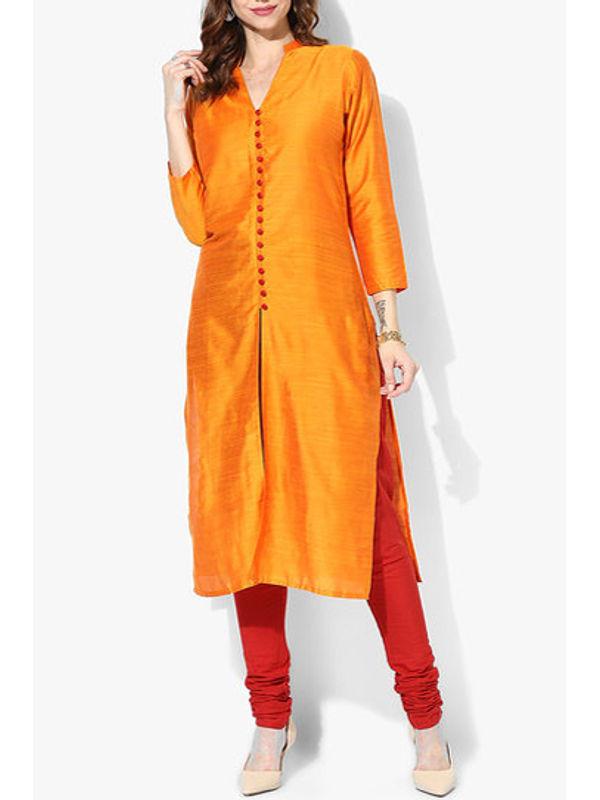 Shree Orange Solid Dupion Silk Kurta