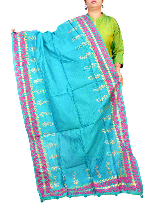Silk Artistic Blue Khadi Work Formal Dupatta