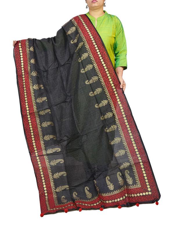 Silk Black Maroon Khadi Work Dupatta