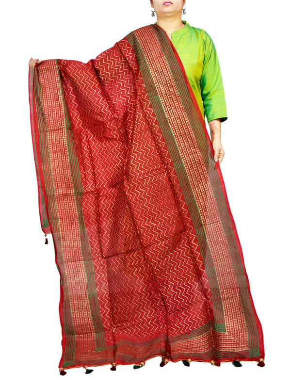 Silk Maroon Pink Khadi Work Formal Dupatta