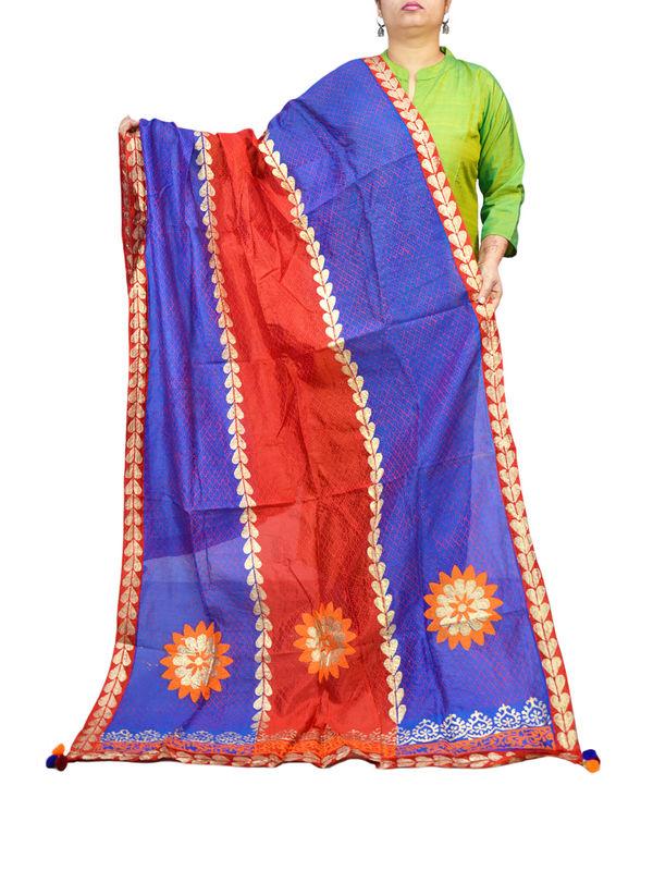 Silk Red Blue Hand Painted Khadi Work Formal Dupatta