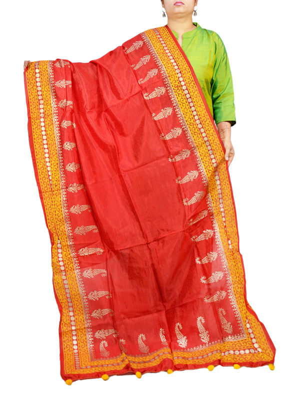 Silk Red Yellow Khadi Work Formal Dupatta
