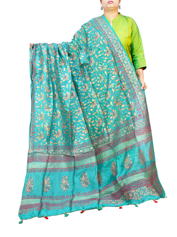 Silk Sea Green Hand Painted Khadi Work Formal Dupatta