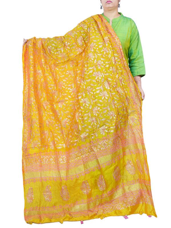 Silk Yellow Pink Khadi Work Formal Dupatta