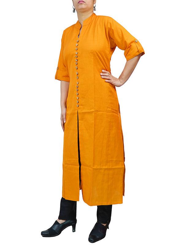 Solid Orange Cotton 16 Wooden Button Kurta