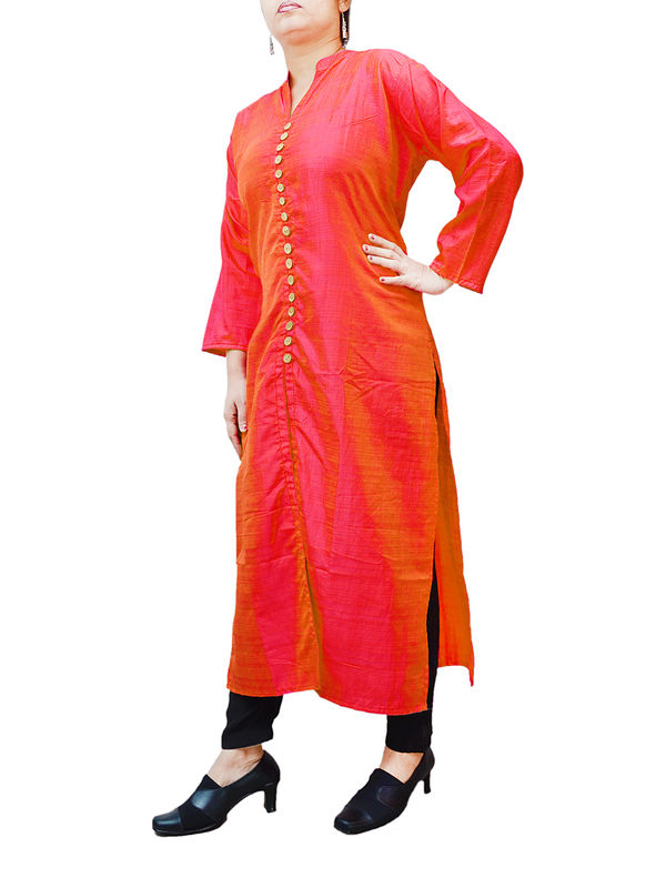 Solid Red Straight Silk 16 Wooden Button Kurta