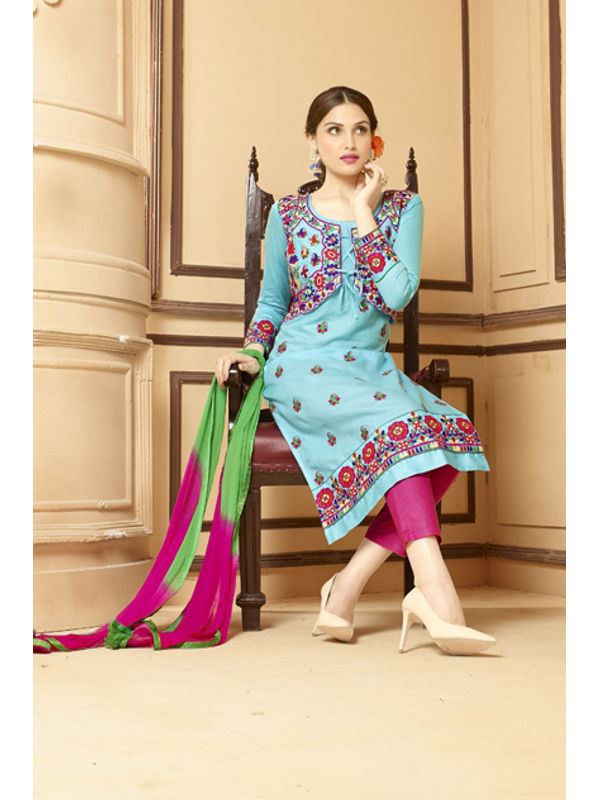 Un-Stitched Artistic Blue Red Pure Satin Cotton Koti Jacket Attach Suit