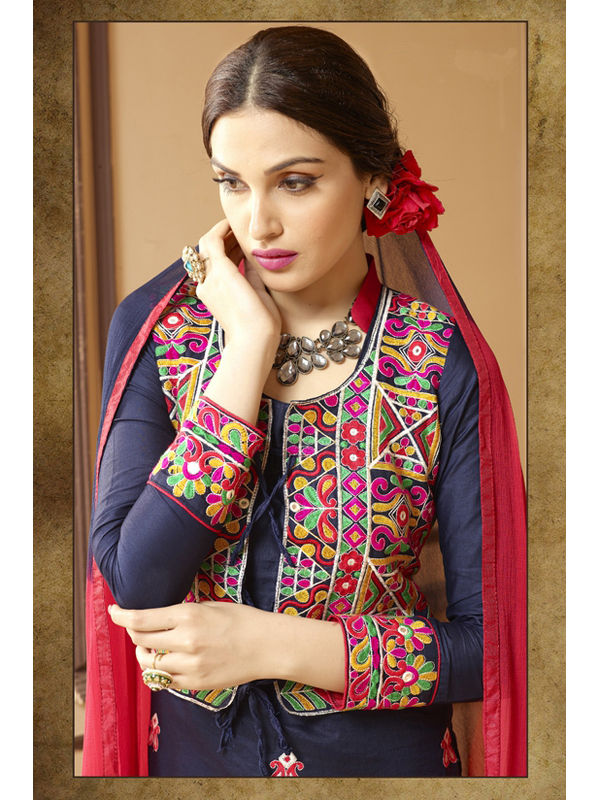Un-Stitched Blue Red Pure Satin Cotton Koti Jacket Attach Suit