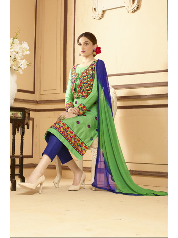 Un-Stitched Green Blue Pure Satin Cotton Koti Jacket Attach Suit