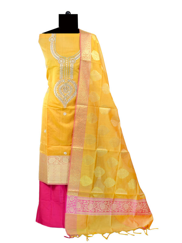 Banarsi Yellow Gotta Patti Work Foral Suit With Banarsi Dupatta