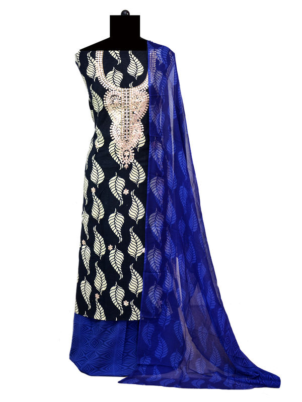 Black Block Printed Cotton Suit With Gotta Patti Work And Pure Chiffon Dupatta