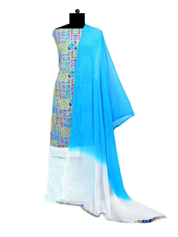 Blue Multi Colored Cotton Chikankari Suit