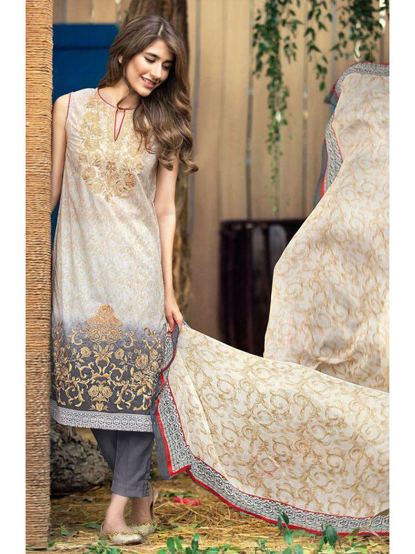 Cambric Cotton Beige Grey Color Digital Printed Suit With Embroidery And Chiffon Dupatta