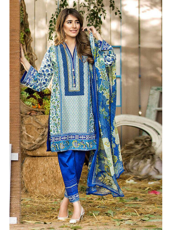 Cambric Cotton Blue Color Digital Printed Suit With Embroidery And Chiffon Dupatta