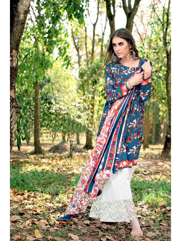 Cambric Cotton Navy Blue Floral Printed Un-Stitched Lawn Suit With Printed Chiffon Dupatta