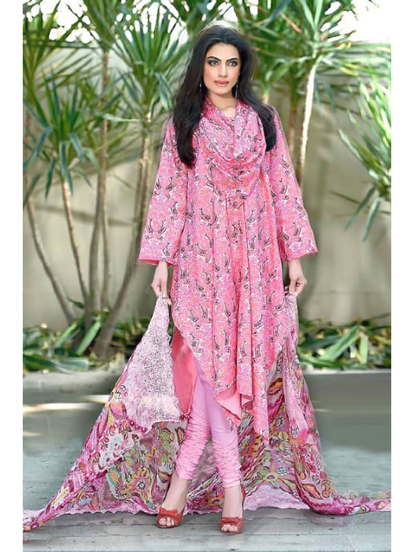 Cambric Cotton Pink Floral Printed Un- Stitched Lawn Suit With Printed Chiffon Dupatta