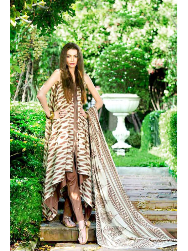 Lawn Cotton White Brown Floral Printed Suit With Printed Chiffon Dupatta