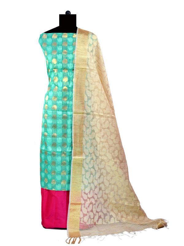 Green Zari Kotta Jaipuri Formal Suits With Banarsi Printed Dupatta