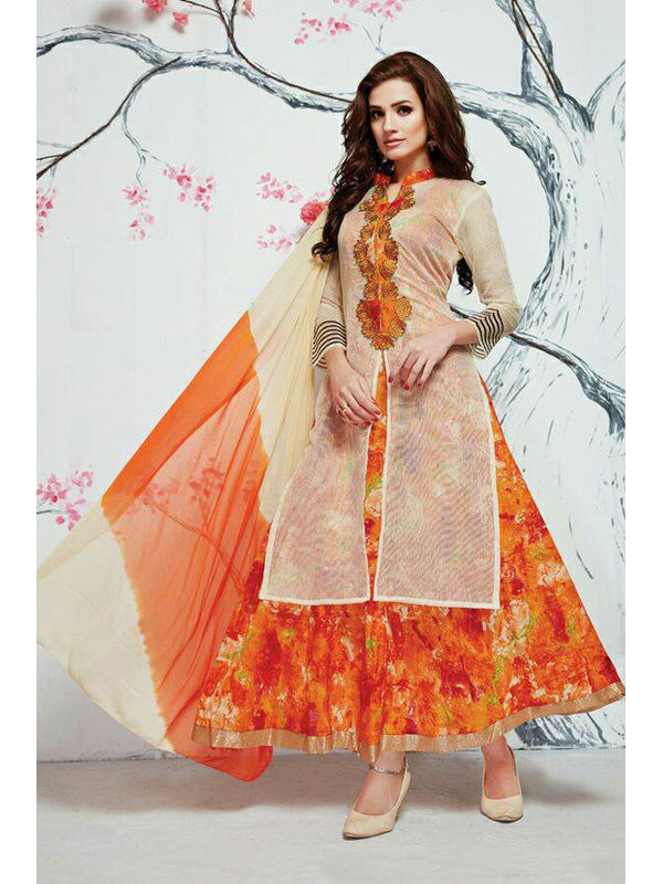 Indo Western Beige Orange Color Embroidered Silk Top And Pure Cotton Heavy Skirt
