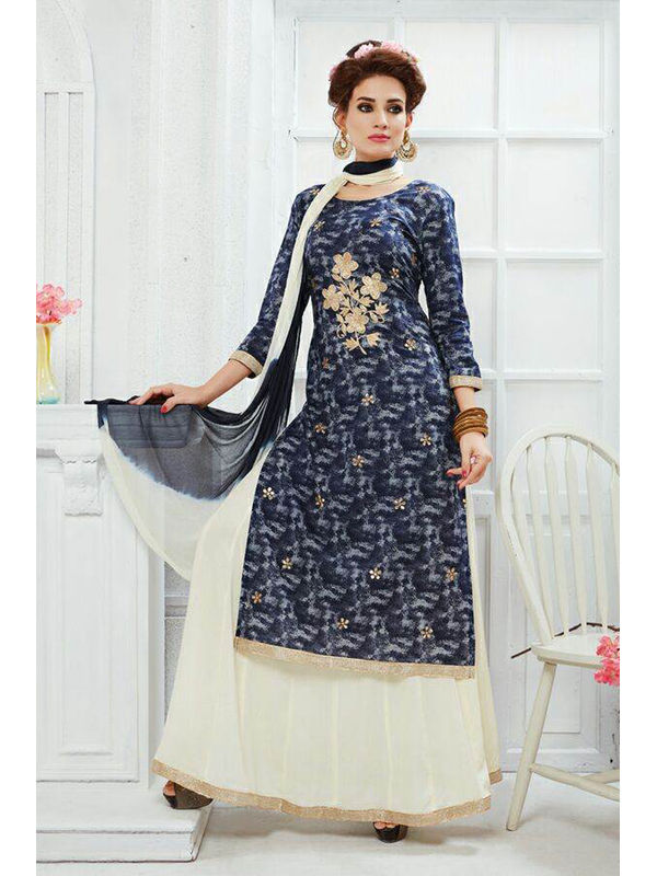 Indo Western Blue Embroidered Cotton Top And Pure Cotton Heavy Skirt