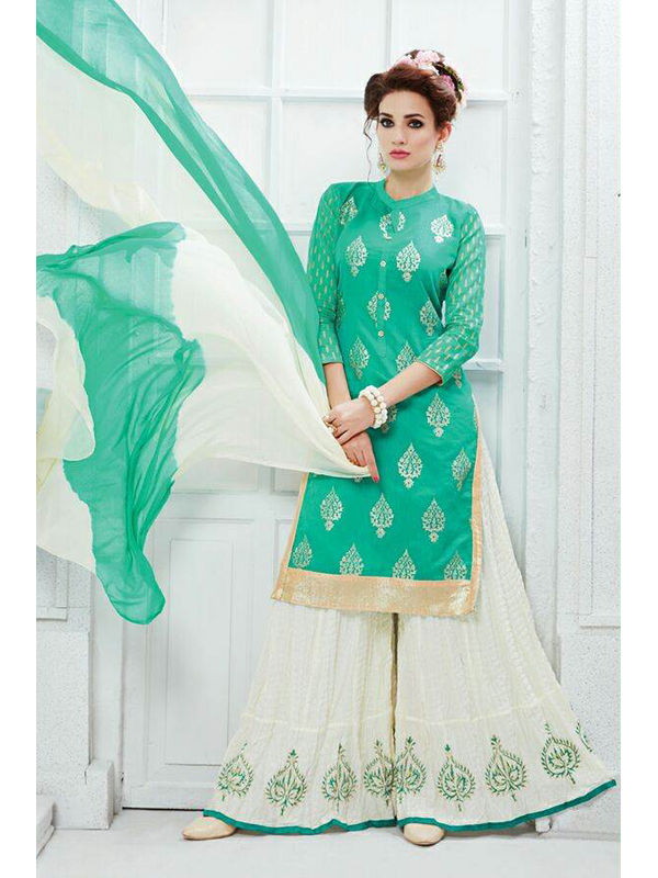 Indo Western Green White Color Embroidered Silk Top And Pure Cotton Heavy Skirt