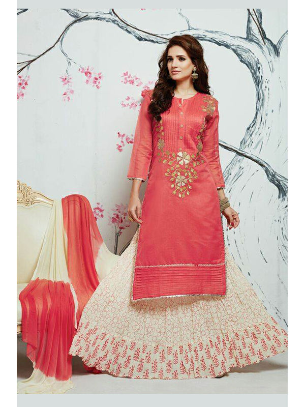 Indo Western Pink Color Embroidered Silk Top And Pure Cotton Heavy Skirt