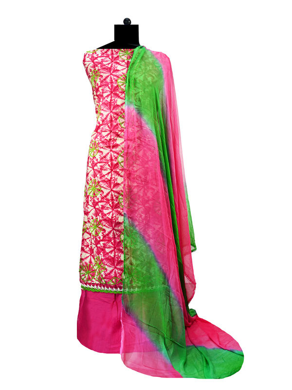 Magenta Beige Green Embroidered Cotton Suit With Pure Chiffon Dupatta