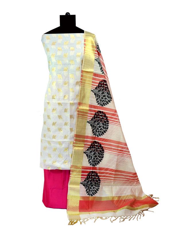 Off White Zari Kotta Work Jaipuri Suit With Banarsi Printed Dupatta