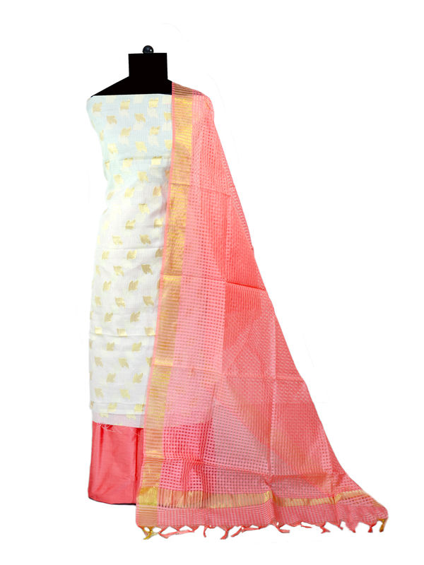 Off White Zari Kotta Jaipuri Formal Suits With Pink Banarsi Printed Dupatta