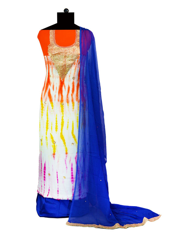 Pure Georgette Orange Blue Multi Color Suit With Gotta Work And With Pure Blue Chiffon Dupatta