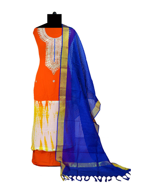 Pure Georgette Orange Blue Multi-Color Suit With Gotta Patti Work And With Banarsi Blue Dupatta