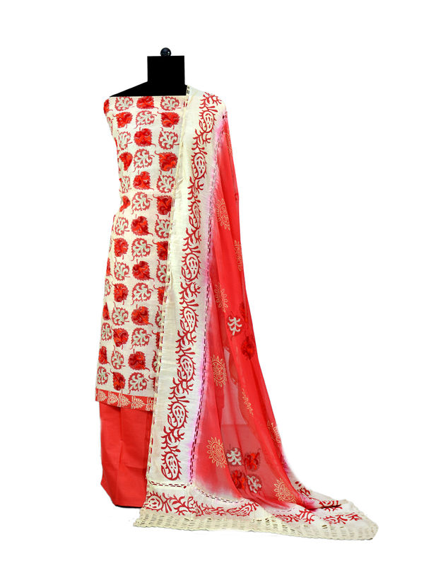 Red Color  Jacquard Suit With Pure Chiffon Dupatta