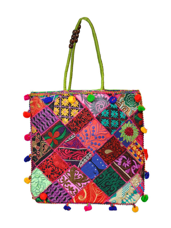 Handicraft Ethnic Embroidered Patchwork Sea green Handbag