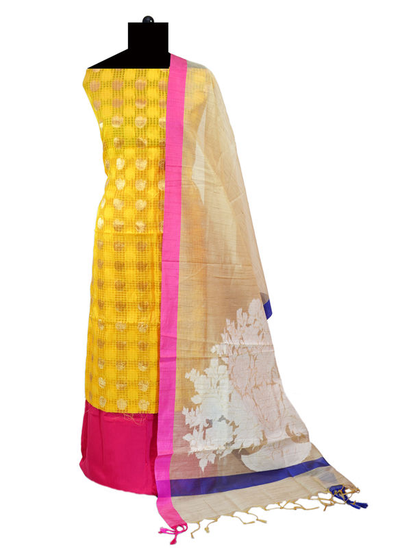 Yellow Zari kotta Jaipuri Formal Suits With Banarsi Printed Dupatta