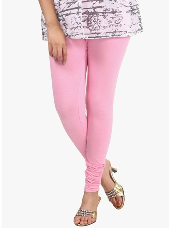 Light Pink Cotton Slim Fit Legging