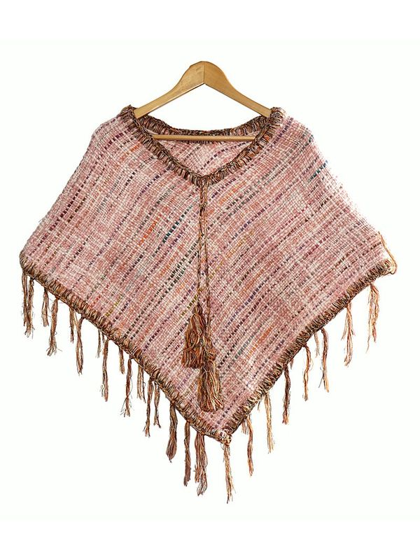 Stay ahead with this stylish warm cozy luxurious woolen handwoven Pink Poncho