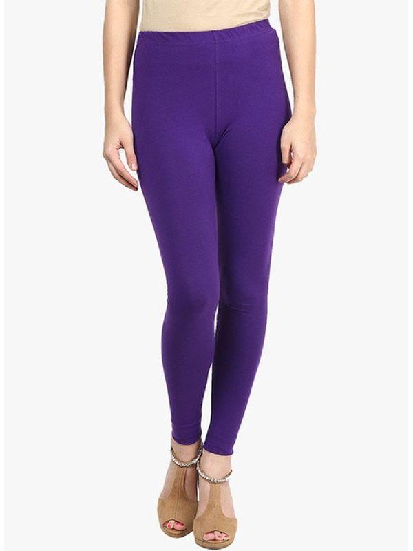 Purple Cotton Slim Fit Legging