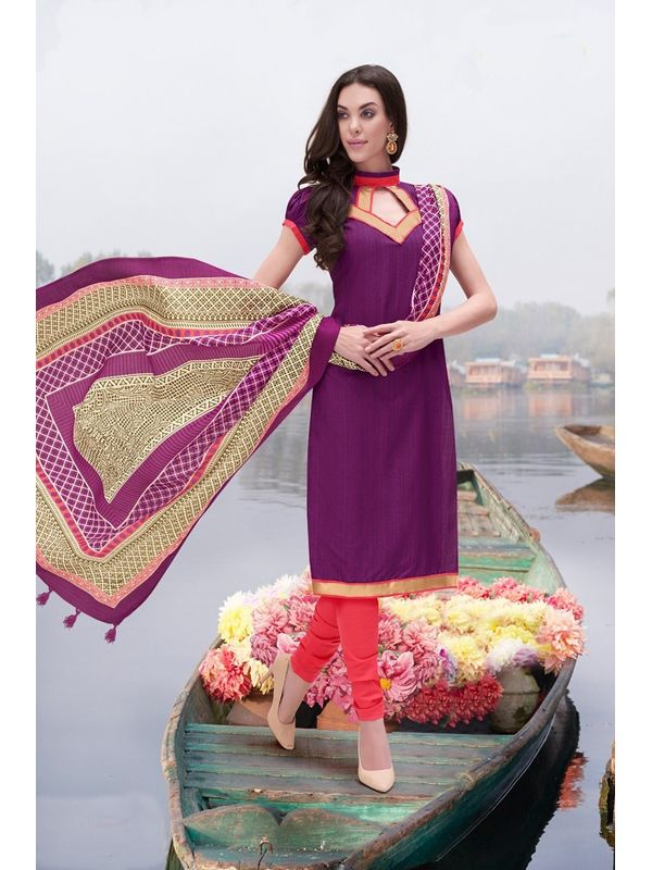 Purple Color Bhagalpuri Silk Un Stitched Suit With Dupatta