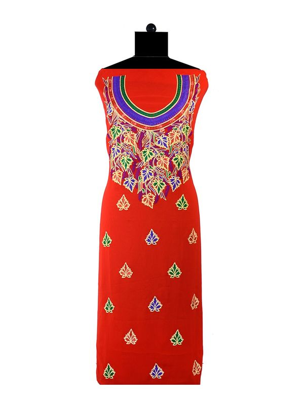 Red Blue Embroidered Unstitched Georgette Kurti
