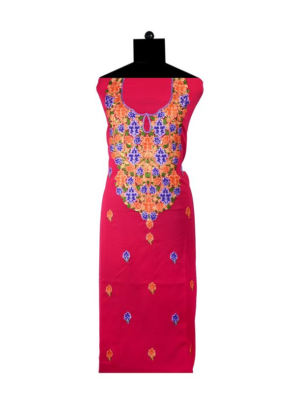Red Embroidered Unstitched Georgette Kurti