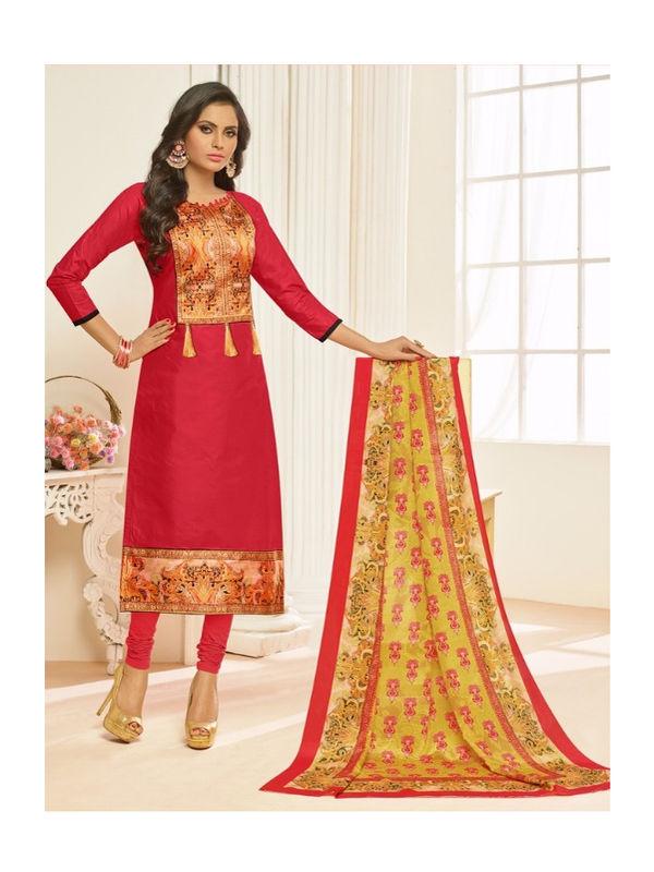Red Color Bhagalpuri Silk Un Stitched Suit With Dupatta