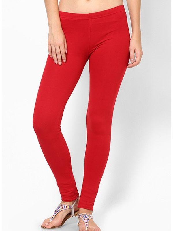 Red Cotton Slim Fit Legging