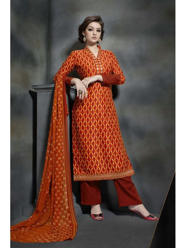 Pashmina Rust Color Printed Suit With Pure Chiffon Dupatta
