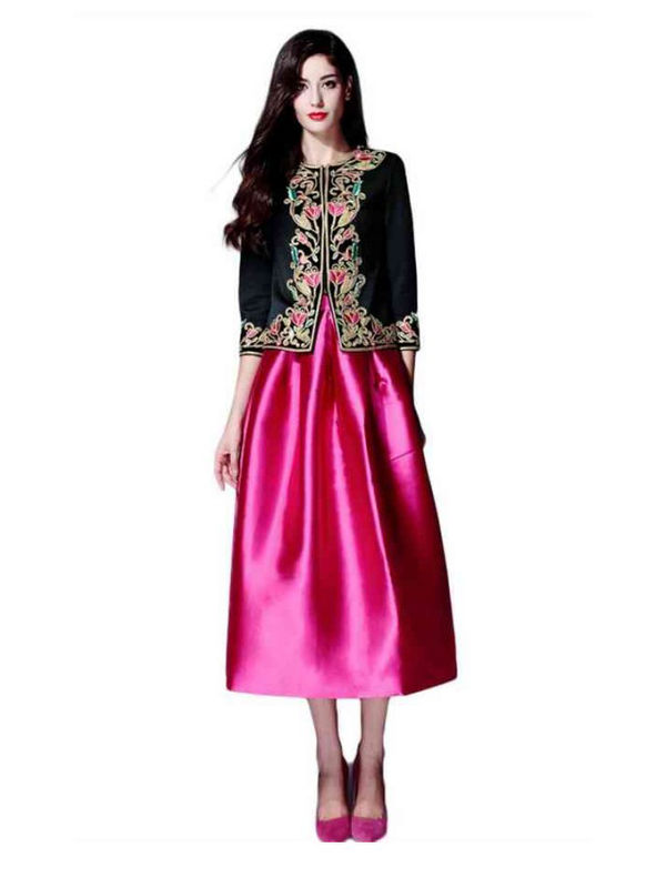 Un-Stitched Black Jacket With Pink Un-Stitched Skirt